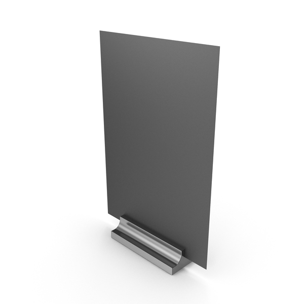 Office Supplies: Black Desk Paper Banner with Silver Stand PNG & PSD Images