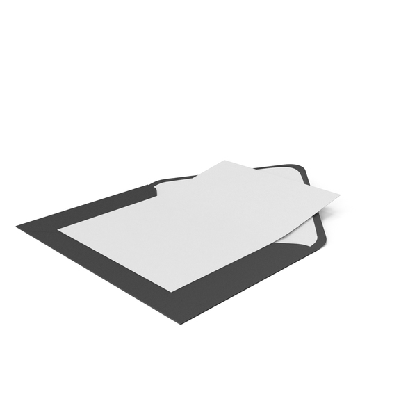 Black Envelope and Paper Card PNG & PSD Images