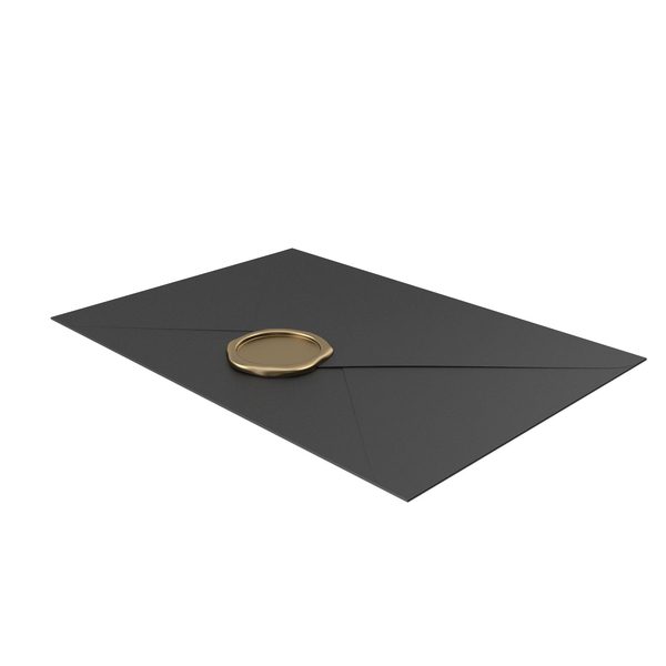 Black Envelope with Gold Wax Seal PNG & PSD Images
