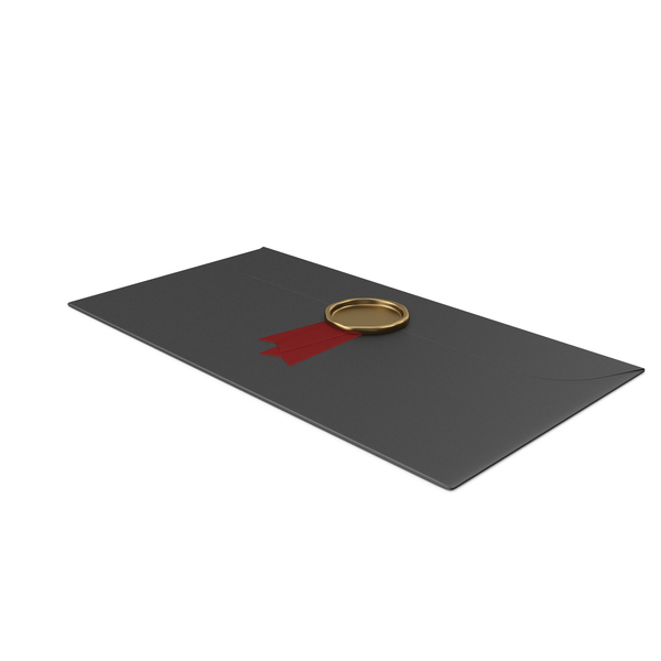 Black Envelope with Ribbon and Wax Stamp PNG & PSD Images