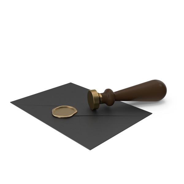 Black Envelope with Wax Seal and Stamp PNG & PSD Images
