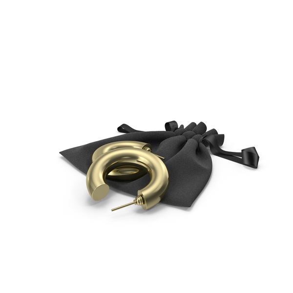 Black Fabric Bag with Ribbon and Gold Earrings Hoops PNG & PSD Images