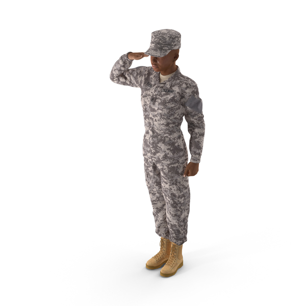 Woman: Black Female Soldier ACU Saluting Pose PNG & PSD Images
