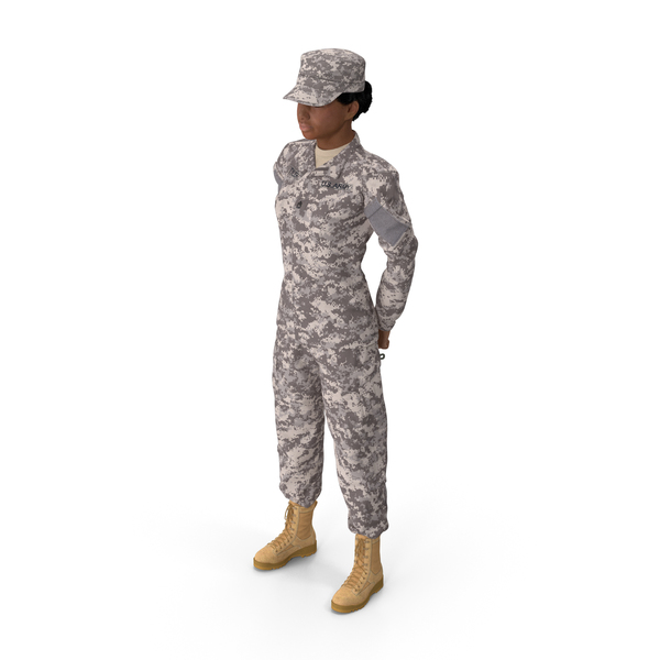 Black Female Soldier Military ACU Standing Pose Fur PNG & PSD Images