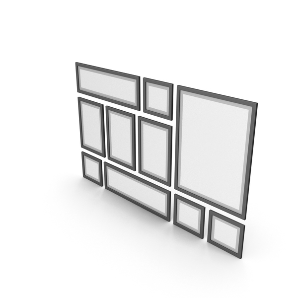 Picture Frame: Black Framed Paintings with Grey Border PNG & PSD Images