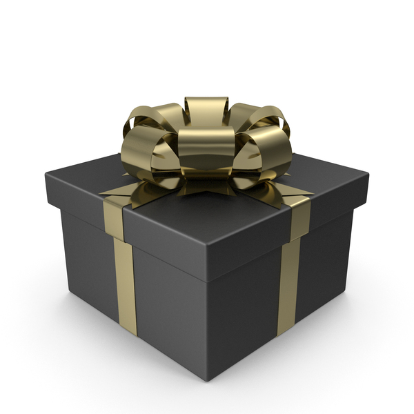Black Gift Box with Gold Bow PNG & PSD Images
