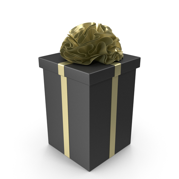 Holiday Accessories: Black Gift Box with Gold Ribbon PNG & PSD Images