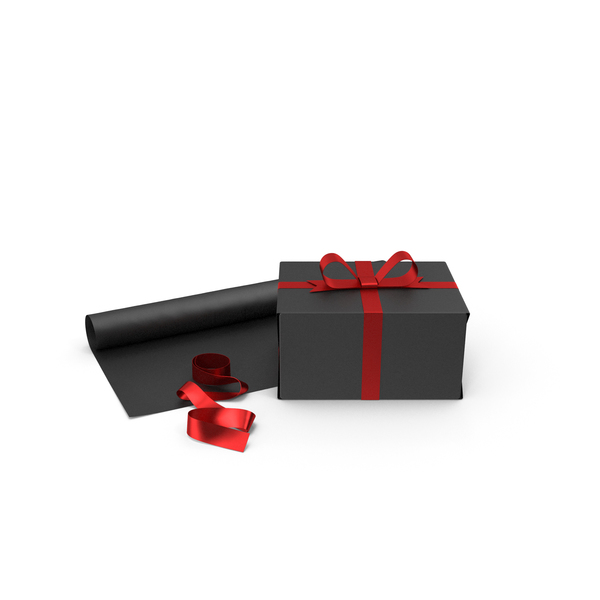 Bag: Black Gift Box with Paper Roll and Red Foil Ribbon PNG & PSD Images