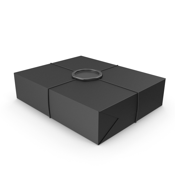 Box: Black Gift Wrapping with a Wax Seal PNG & PSD Images