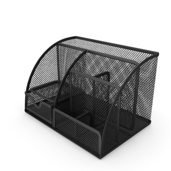 Black Mesh Desk Organizer with Drawer PNG & PSD Images