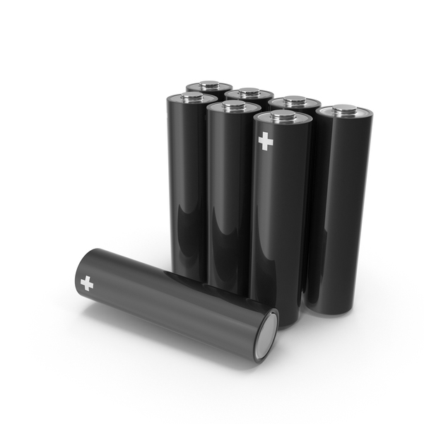 Black Metallic AA Battery Set PNG & PSD Images