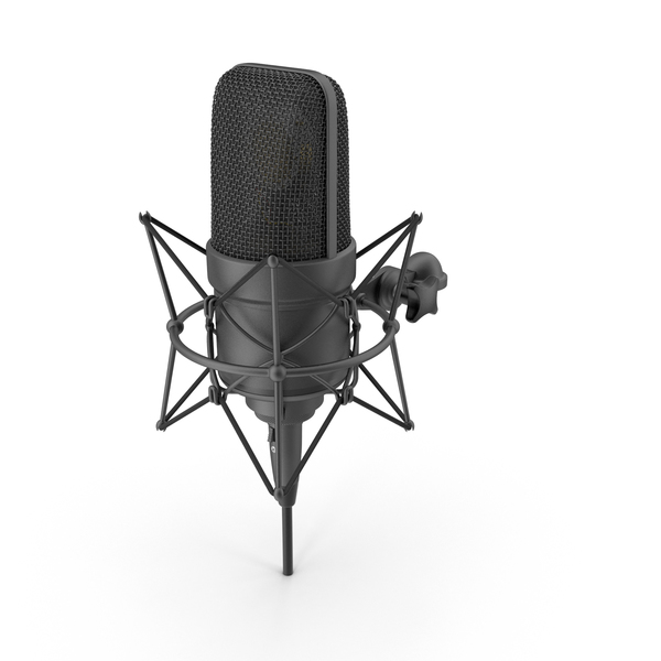 Black Microphone with XLR Cable Object
