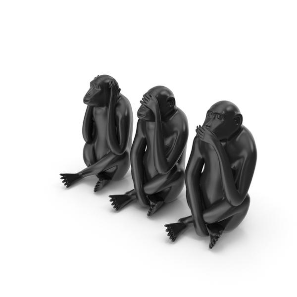 Statue: Black Monkey Statues Set Sculpture PNG & PSD Images