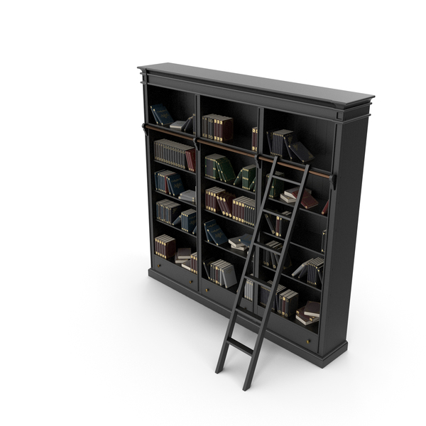 Black Open Library Bookcase with Books PNG & PSD Images