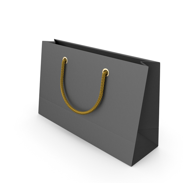 Gift: Black Packaging Bag with Gold Handles PNG & PSD Images