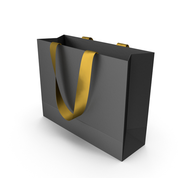 Gift: Black Packaging Bag with Gold Tape Handles PNG & PSD Images