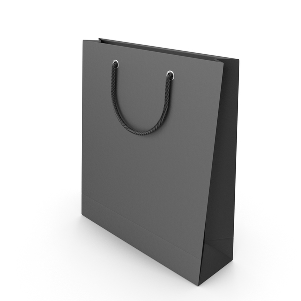 Paper: Black Packaging Bag with Black Handles PNG & PSD Images