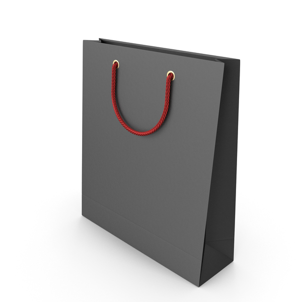 Black Packaging Bag with Red Handles PNG & PSD Images