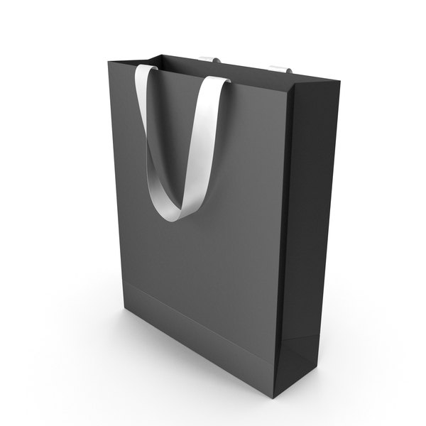 Gift: Black Packaging Bag with White Tape Handles PNG & PSD Images