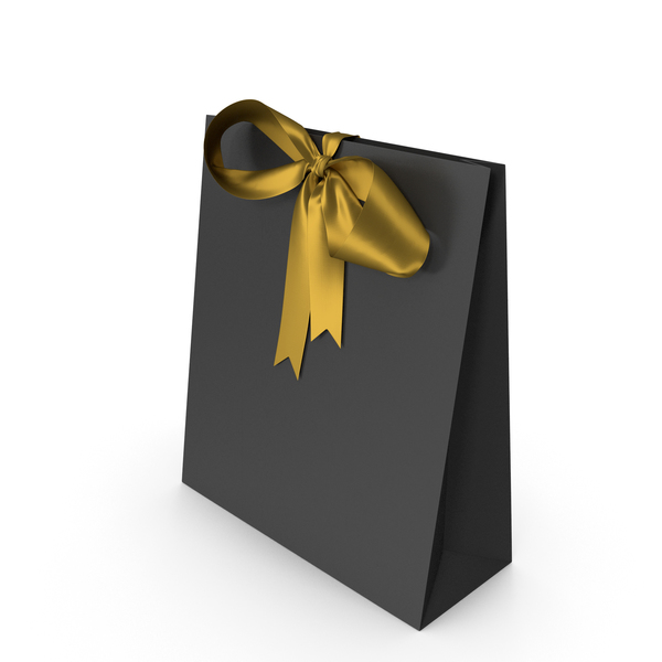 Gift Bag: Black Packaging Paper with Gold Ribbon Bow PNG & PSD Images