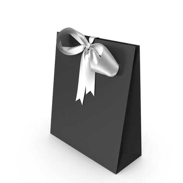 Black Packaging Paper with White Ribbon Bow PNG & PSD Images