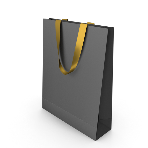 Black Paper Bag with Gold Handles PNG & PSD Images