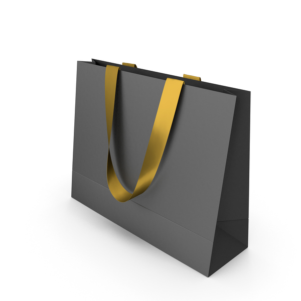 Black Paper Bag with Gold Tape Handles PNG & PSD Images