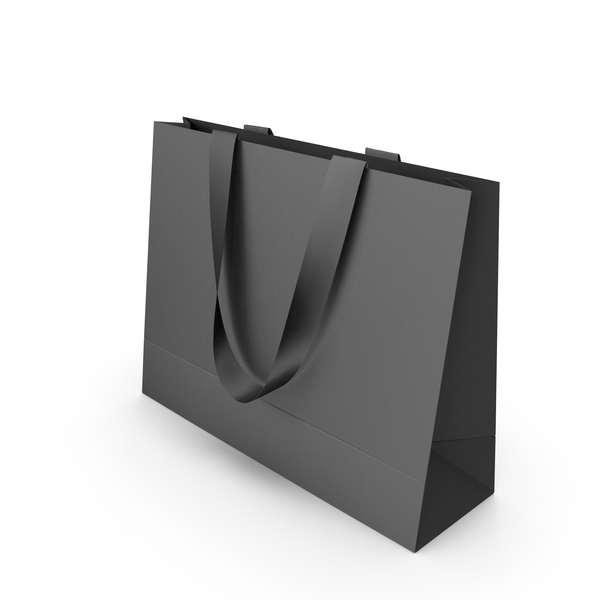 Gift: Black Paper Bag with Black Handles PNG & PSD Images