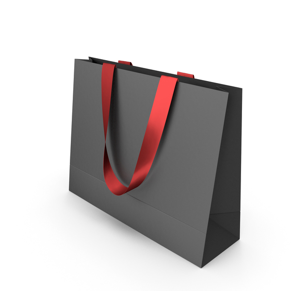 Gift: Black Paper Bag  with Red Handles PNG & PSD Images