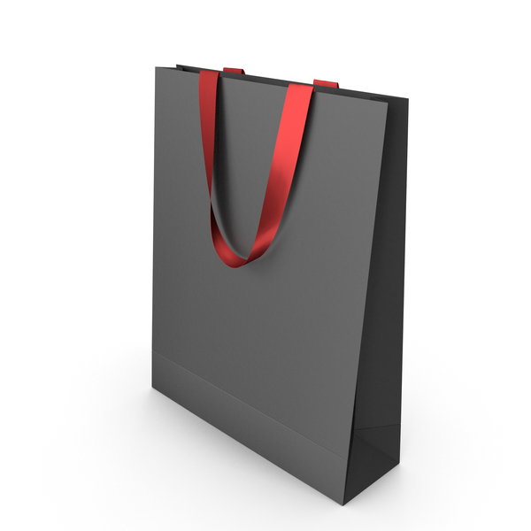 Gift: Black Paper Bag with Red Tape Handles PNG & PSD Images