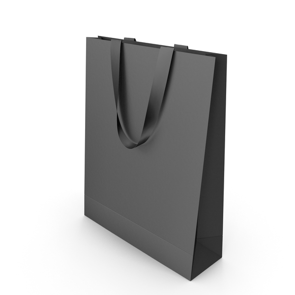 Gift: Black Paper Bag with Black Tape Handles PNG & PSD Images
