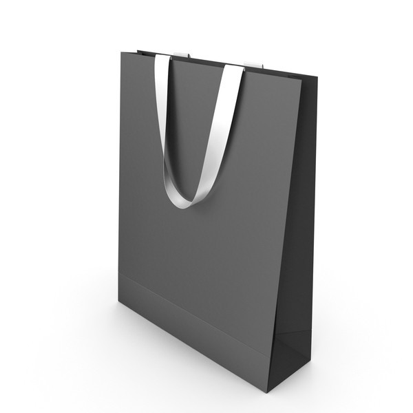 Gift: Black Paper Bag with White Handles PNG & PSD Images