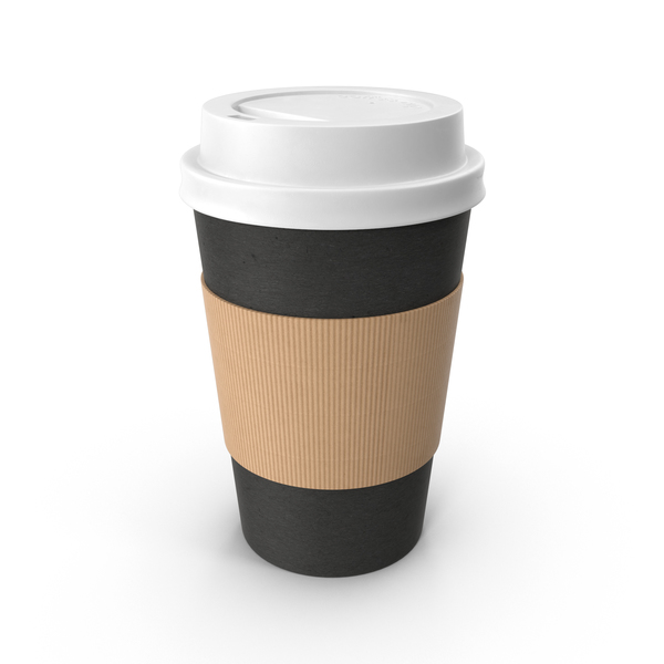 Black Paper Coffee Cup White Lid PNG & PSD Images