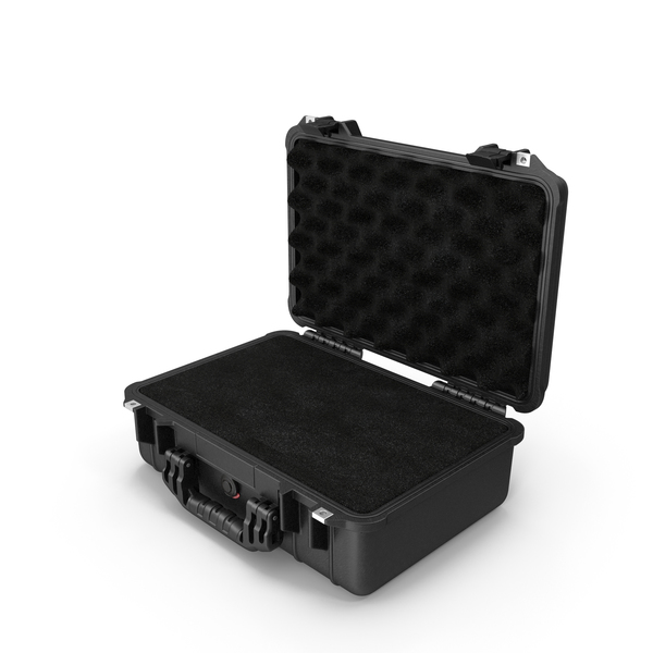 Suitcase: Black Pelican Case with Foam PNG & PSD Images