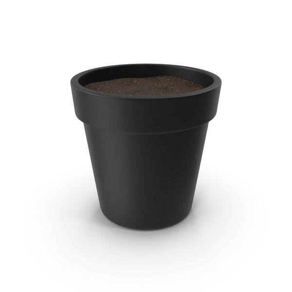 Black Plant Pot With Soil PNG & PSD Images