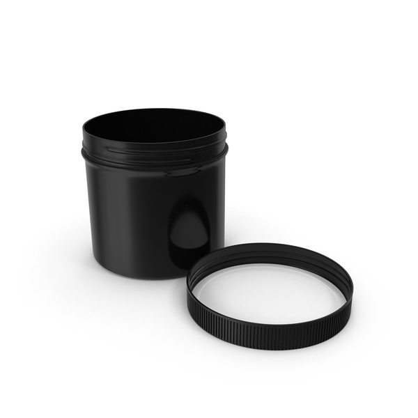 Black Plastic Jar Wide Mouth Straight Sided 12oz Cap Laying PNG & PSD Images