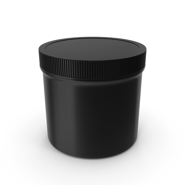 Food Container: Black Plastic Jar Wide Mouth Straight Sided 12oz Closed PNG & PSD Images