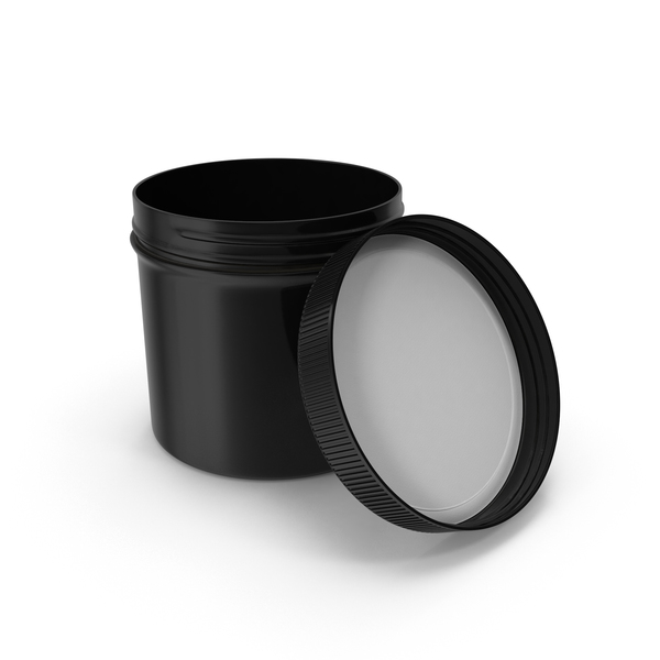 Food Container: Black Plastic Jar Wide Mouth Straight Sided 12oz Open PNG & PSD Images