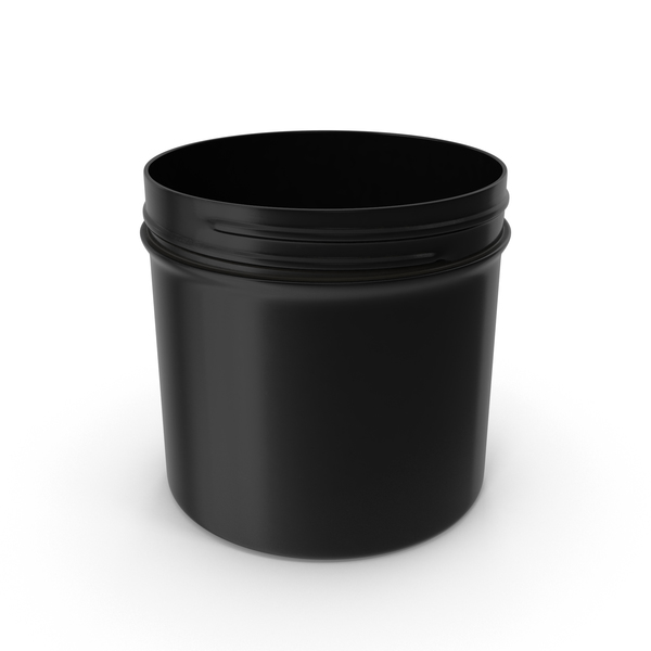 Food Container: Black Plastic Jar Wide Mouth Straight Sided 12oz Without Cap PNG & PSD Images