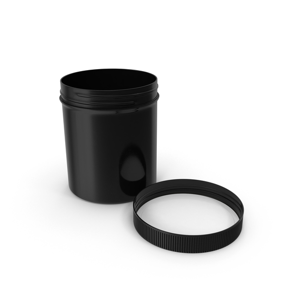 Food Container: Black Plastic Jar Wide Mouth Straight Sided 16oz Cap Laying PNG & PSD Images