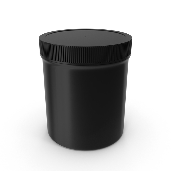 Black Plastic Jar Wide Mouth Straight Sided 16oz Closed PNG & PSD Images