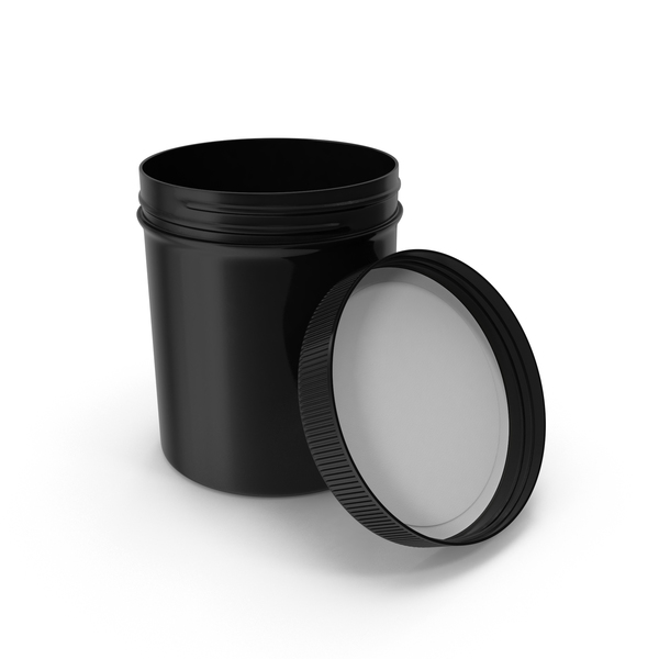 Black Plastic Jar Wide Mouth Straight Sided 16oz Open PNG & PSD Images