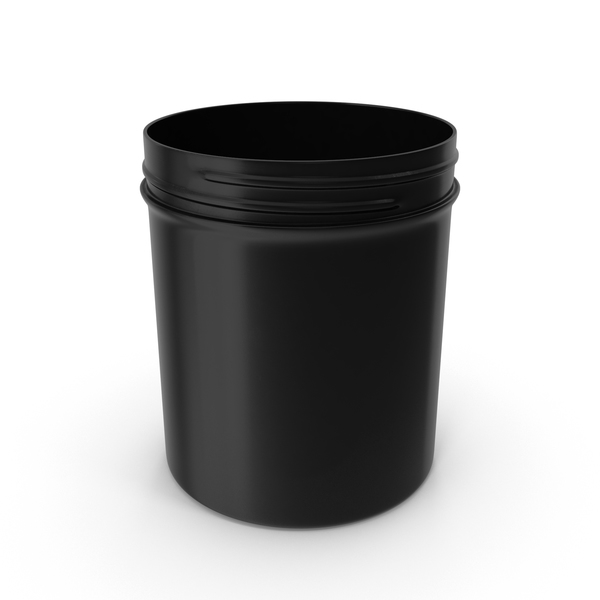 Black Plastic Jar Wide Mouth Straight Sided 16oz Without Cap PNG & PSD Images