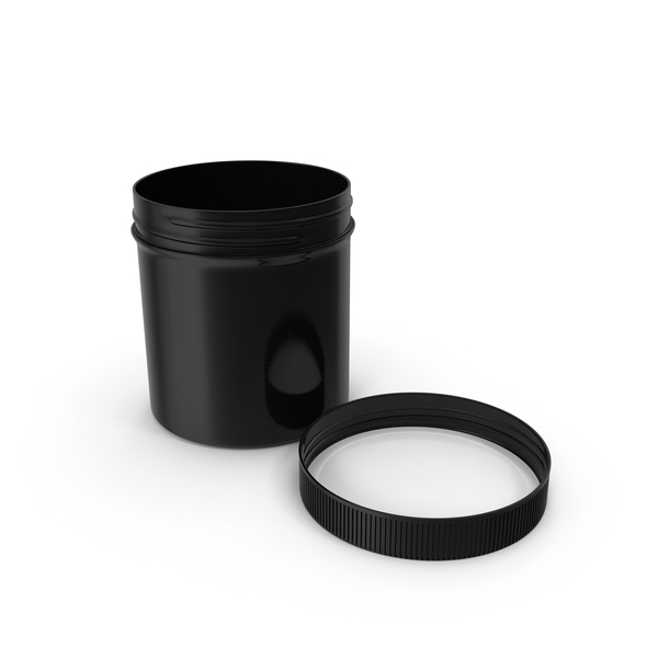 Black Plastic Jar Wide Mouth Straight Sided 20oz Cap Laying PNG & PSD Images