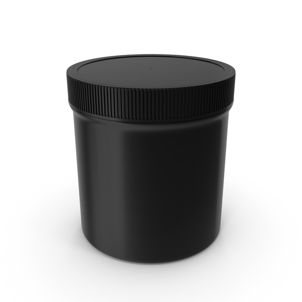 Black Plastic Jar Wide Mouth Straight Sided 20oz Closed PNG & PSD Images