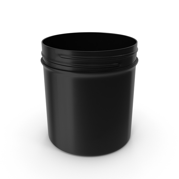 Black Plastic Jar Wide Mouth Straight Sided 20oz Without Cap PNG & PSD Images