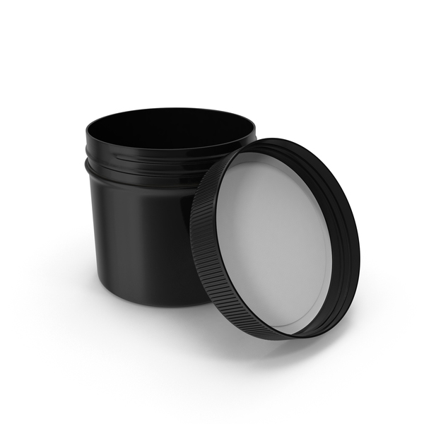 Food Container: Black Plastic Jar Wide Mouth Straight Sided 4oz Open PNG & PSD Images