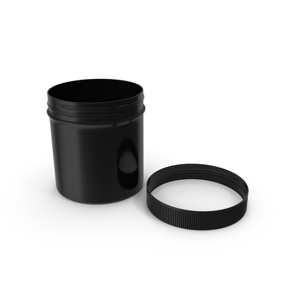 Food Container: Black Plastic Jar Wide Mouth Straight Sided 6oz Cap Laying PNG & PSD Images