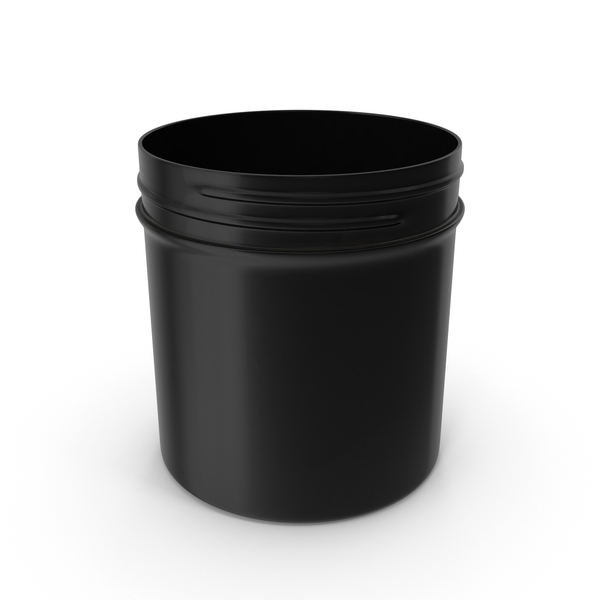 Food Container: Black Plastic Jar Wide Mouth Straight Sided 6oz Without Cap PNG & PSD Images