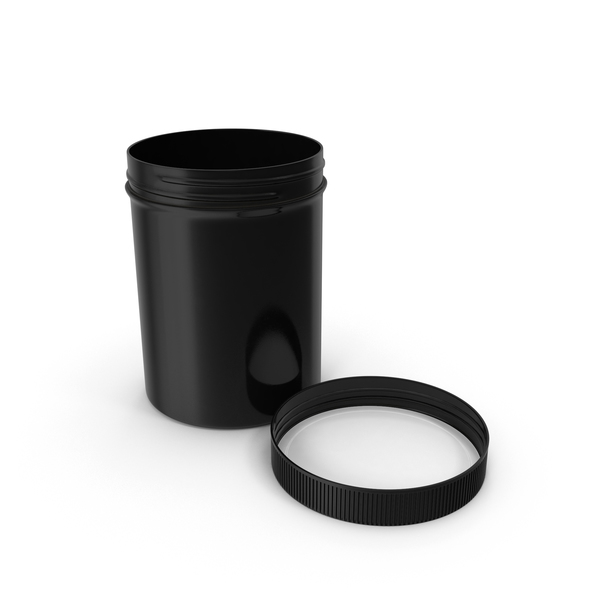 Food Container: Black Plastic Jar Wide Mouth Straight Sided 8oz Cap Laying PNG & PSD Images